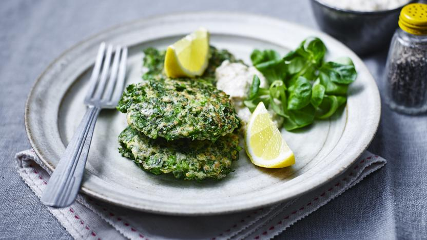 Kale, pea and ricotta fritters