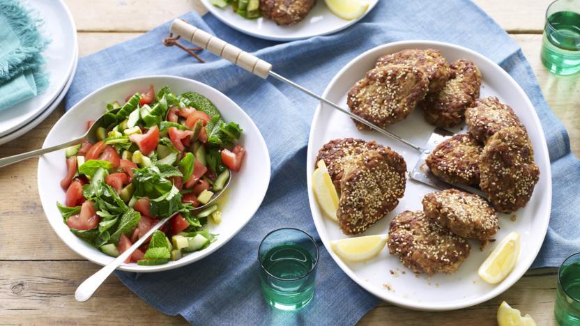 Kotlets with herb salad