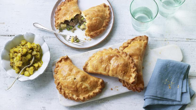 Lamb and mint pasties with quick apple pickle