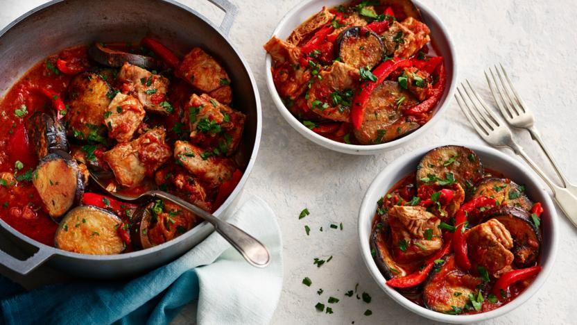 Lamb casserole with aubergine