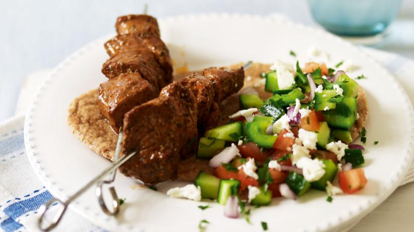 Lamb skewers with Turkish salad