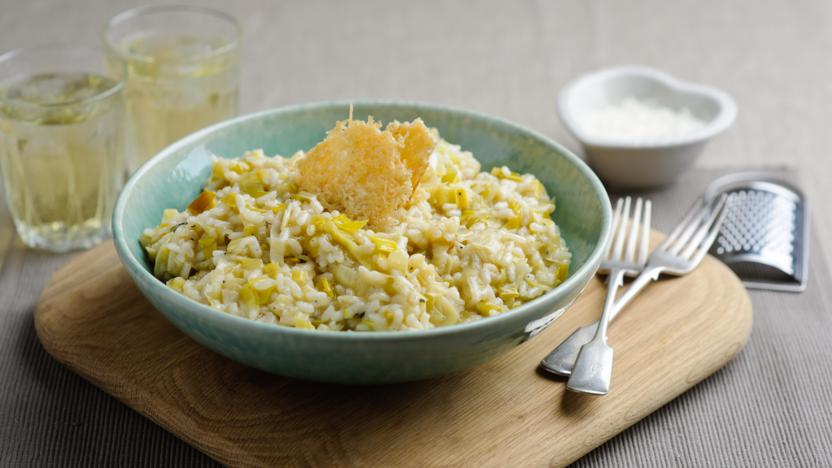 Leek risotto with parmesan crisps