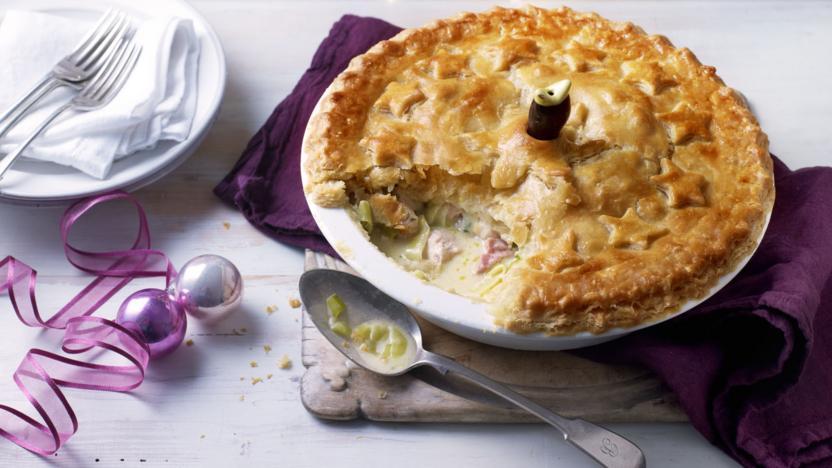Leftover turkey and ham pie