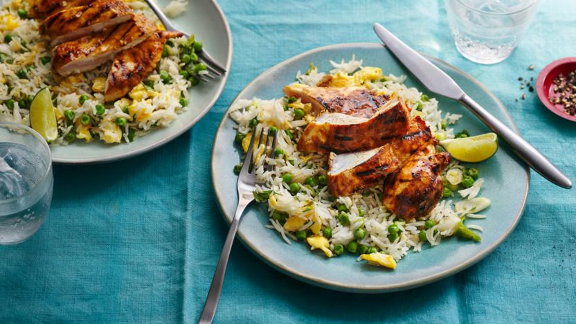 Lemon and lime chicken with egg-fried rice