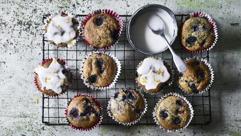Lemon, poppy seed and blueberry vegan muffins