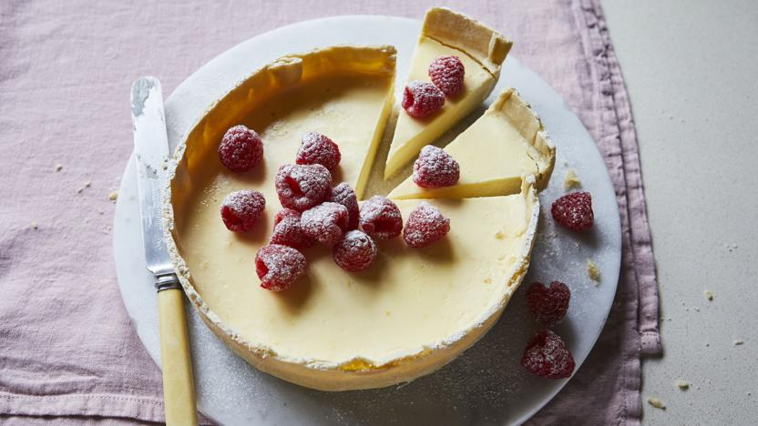Lemon posset tart with raspberries