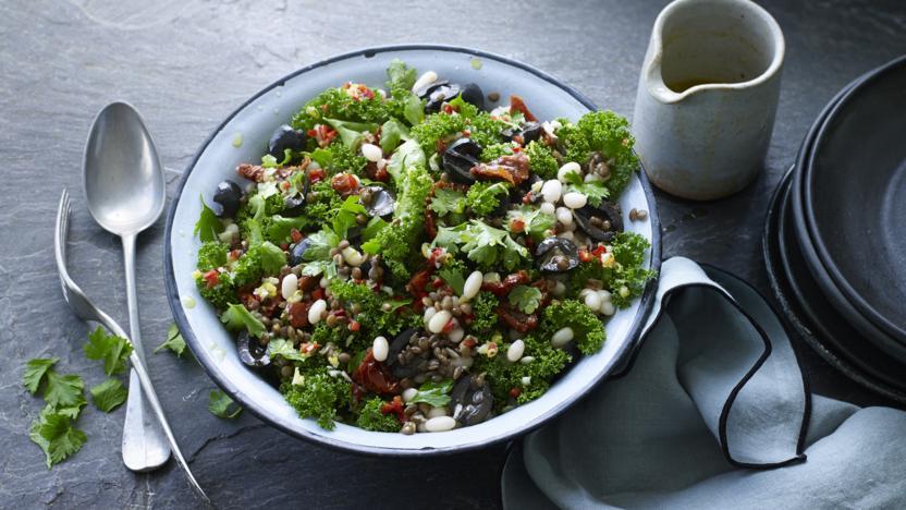 Lentil, bean and kale salad