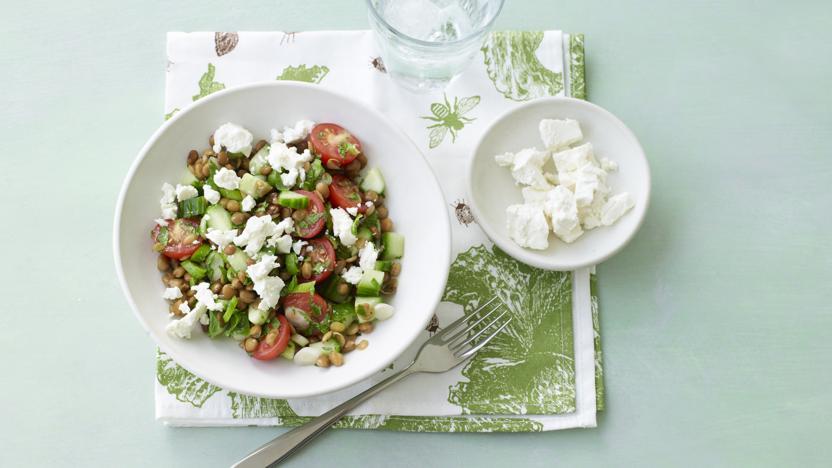 Lentil, cherry tomato and feta salad