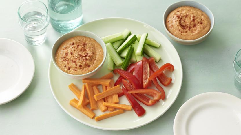 Lighter hummus with vegetable sticks