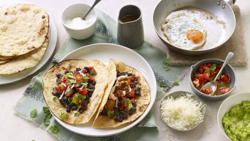 Lime and chipotle black bean tacos