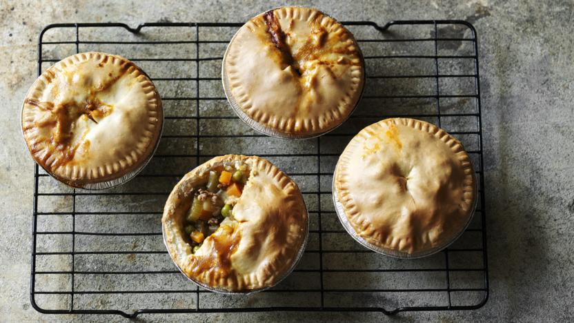Low-fat beef and potato pies