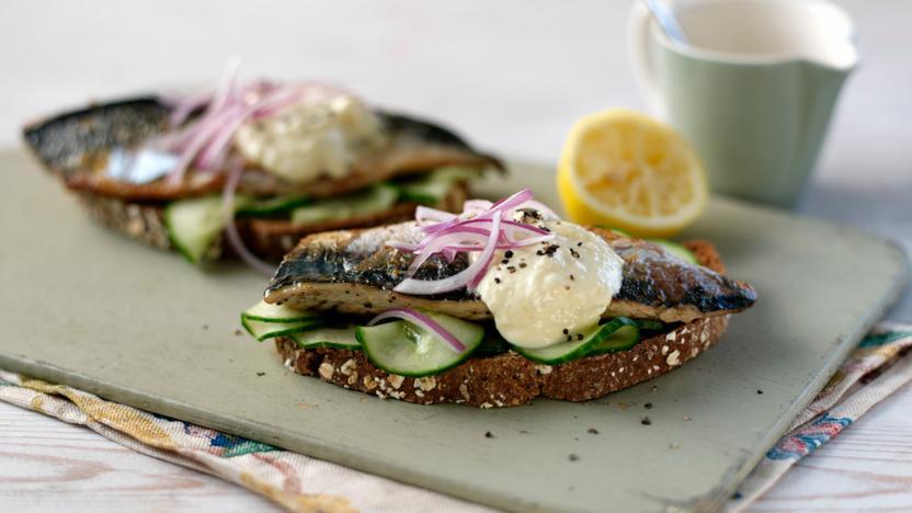 mackerel on toast with salted cucumber and horseradish recipe bbc food