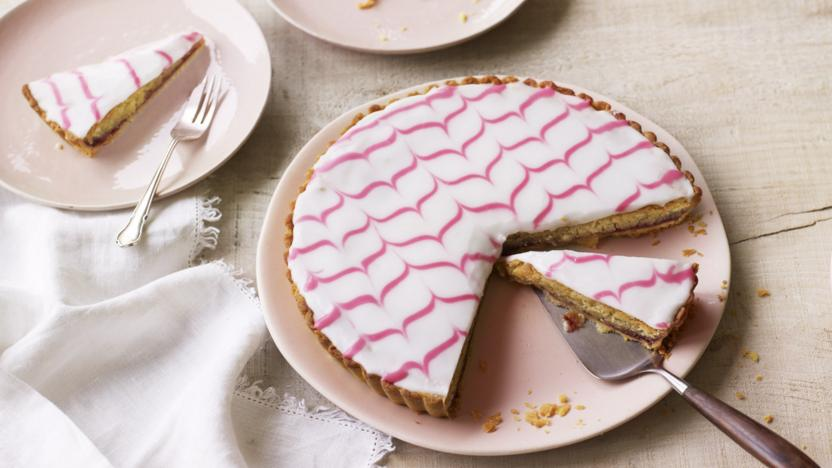 Feather-topped Bakewell tart