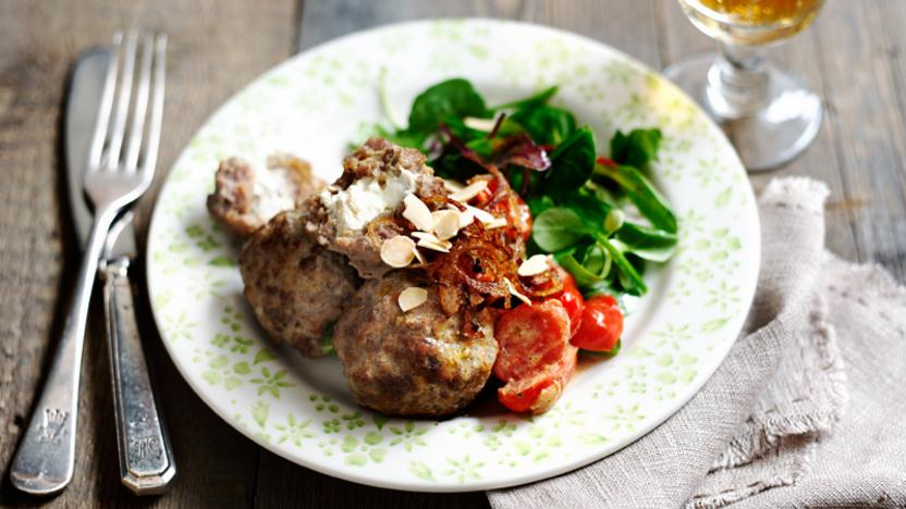 Meatballs with herb salad
