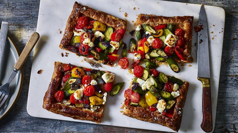 Mediterranean puff pastry tart