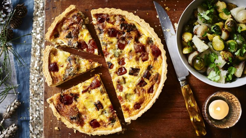 Stilton and butternut squash quiche with roast sprouts