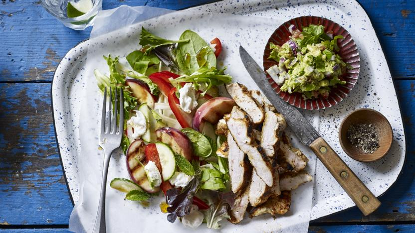 Mesquite chicken with grilled peach salad