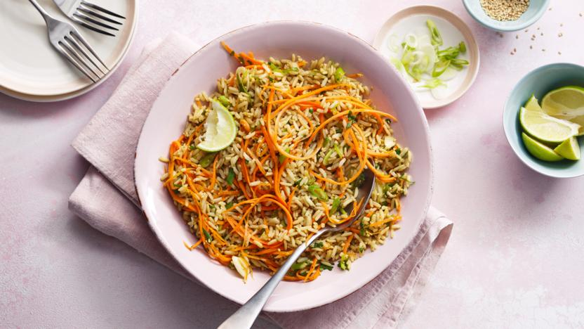 Microwave carrot and ginger rice