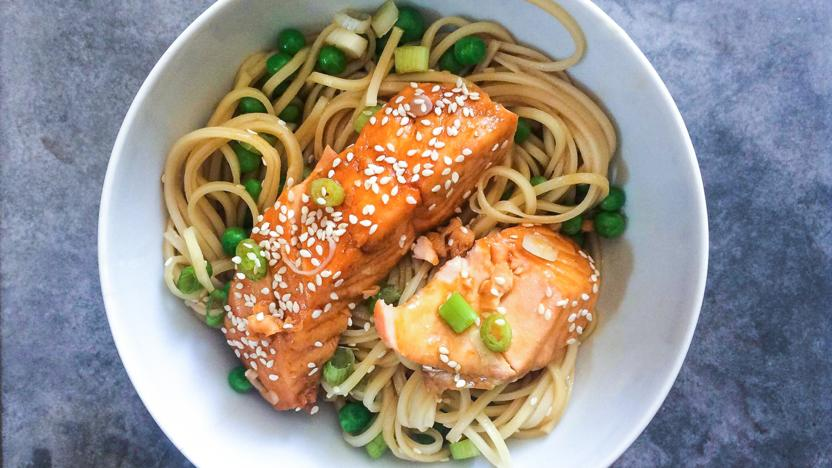 Microwave soy salmon noodles