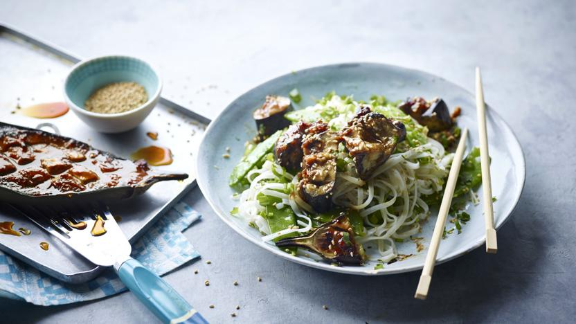 Miso aubergine with noodles