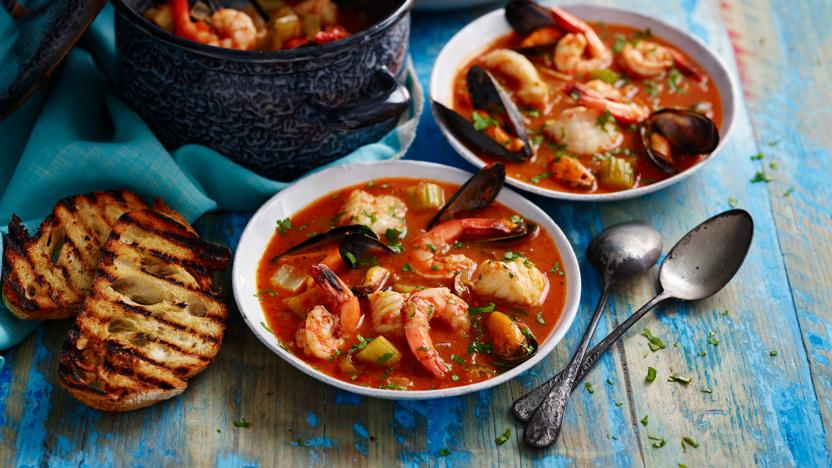 Monkfish, mussel and prawn stew with sourdough (cioppino)