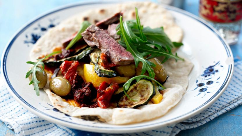 Moroccan flatbread wraps with harissa