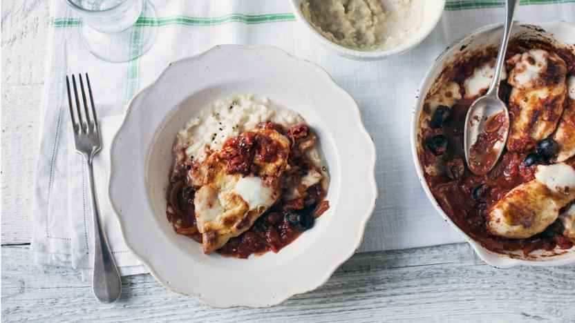 Mozzarella chicken with butter bean mash recipe bbc food mozzarella chicken with butter bean mash forumfinder Image collections