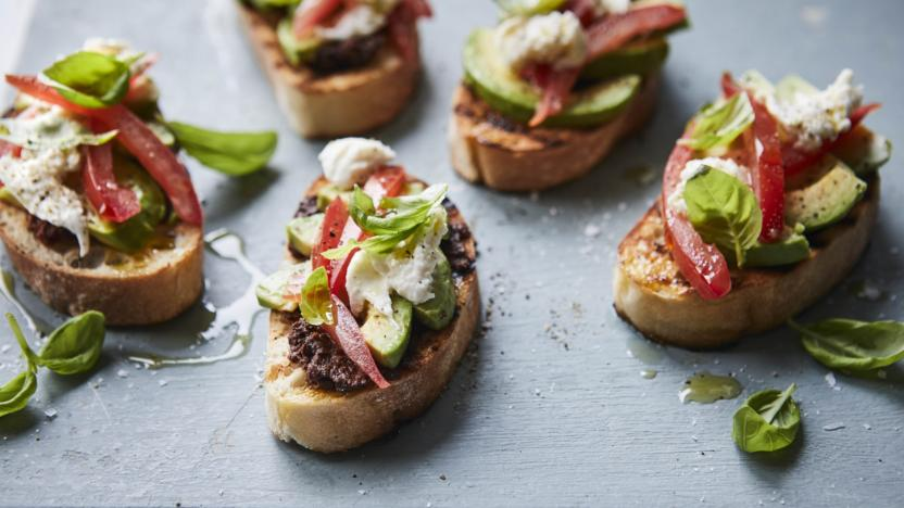 Bruschetta with avocado and olive tapenade