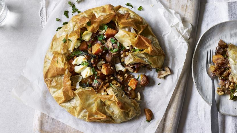 Mushroom, chestnut and squash filo pie