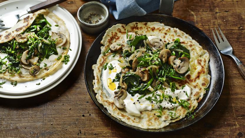 Mushroom and spinach pancakes