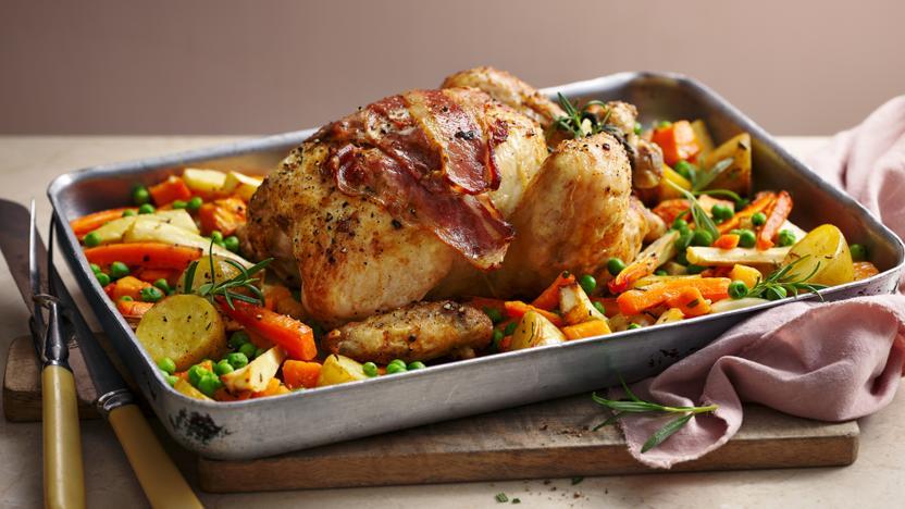 One Pan Roast Chicken Dinner Recipe Bbc Food
