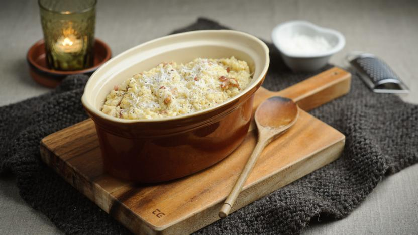 Oven-baked risotto carbonara