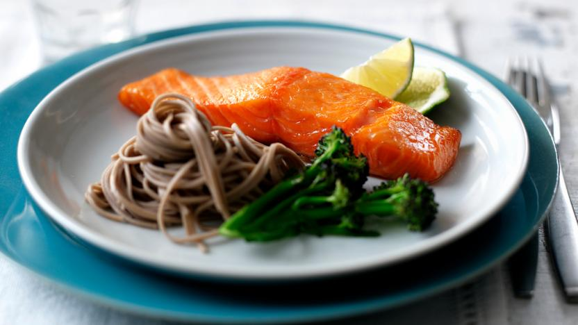 Sweet miso-marinated salmon with soba noodles