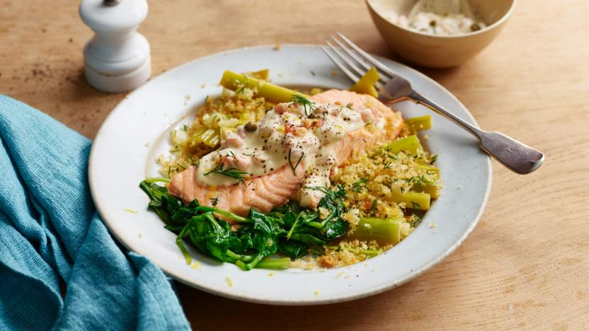 Salmon served with sautéed leeks and a dill crumb