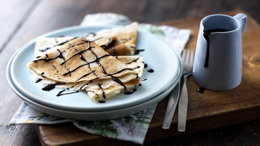 Classic Pancakes With Chocolate Sauce Recipe Bbc Food