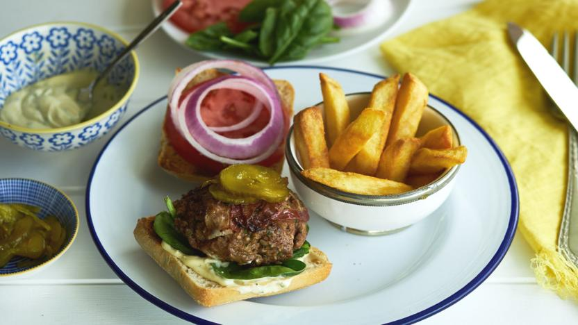 Pancetta beef burger with tarragon mayonnaise