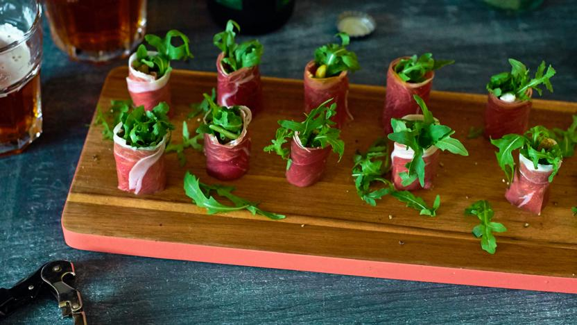 Parma ham goats cheese and rocket canaps recipe bbc food parma ham goats cheese and rocket canaps forumfinder Images