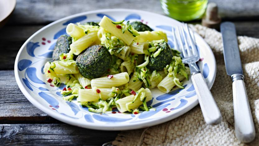 Courgette Pasta With Spinach Balls Recipe Bbc Food