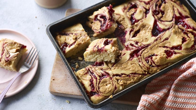 Peanut butter and jelly traybake