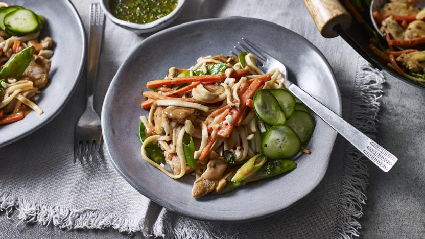 Peanut Chicken Stir Fry Noodles Recipe Bbc Food