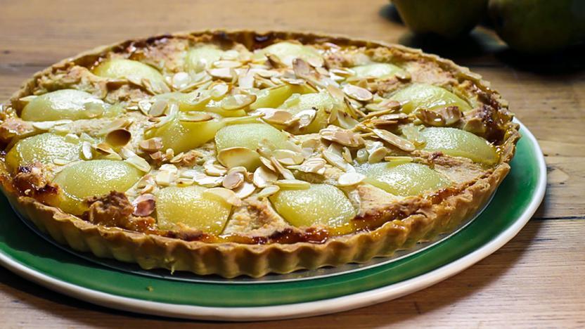 Pear and apricot frangipane tart
