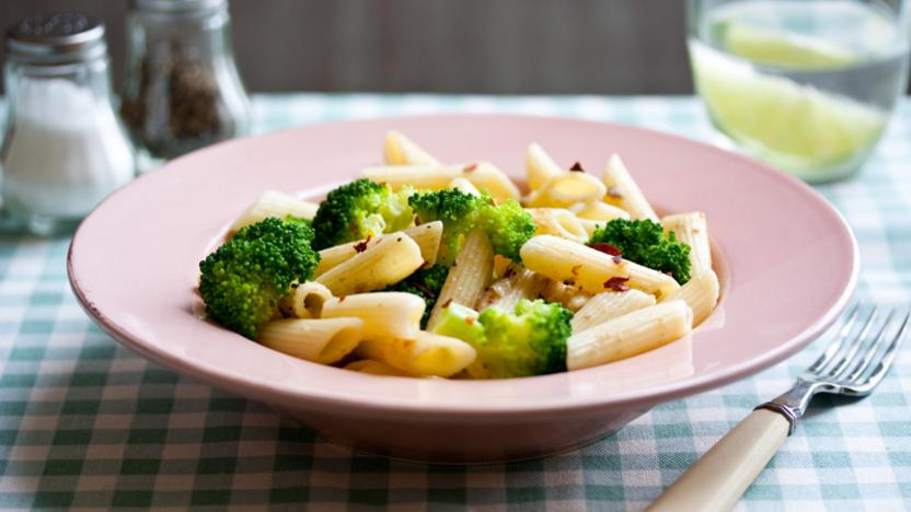 Penne with anchovy, broccoli, chilli and garlic