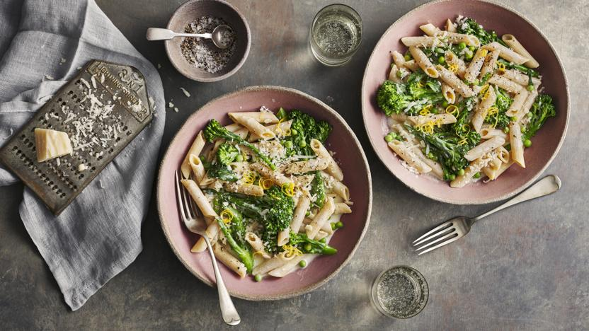 Penne with peas and beans