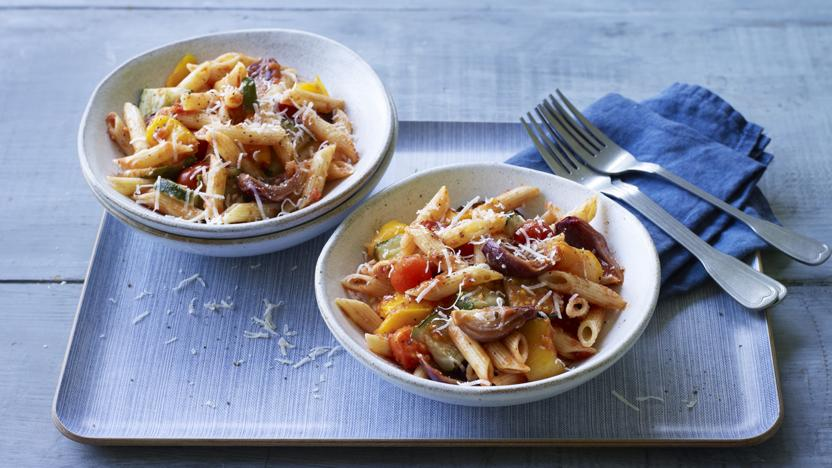 Penne with roasted vegetable and tomato sauce