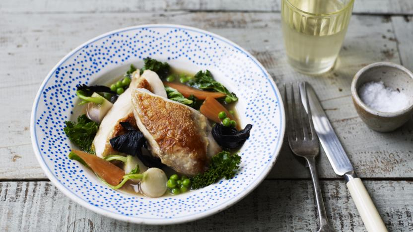 Poached chicken with carrots kale and mushrooms recipe bbc food poached chicken with carrots kale and mushrooms forumfinder Images
