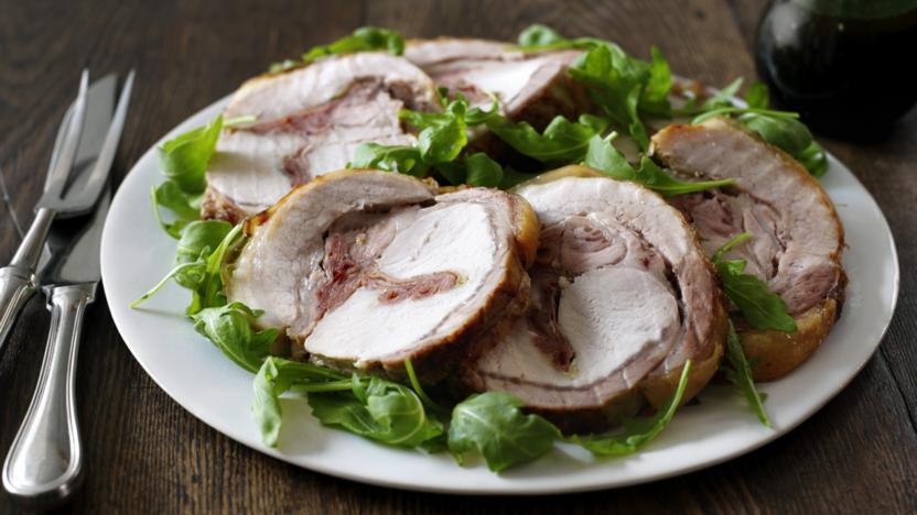 Pork loin with Parma ham and oregano