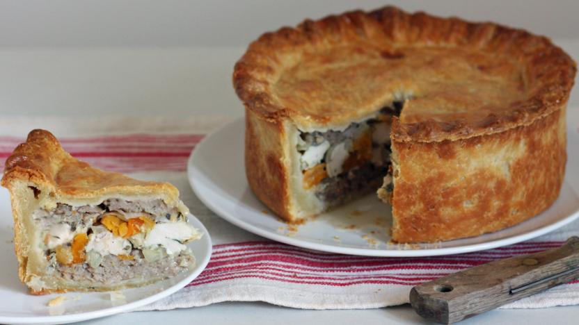 Pork pie with chicken and apricots recipe bbc food pork pie with chicken and apricots forumfinder