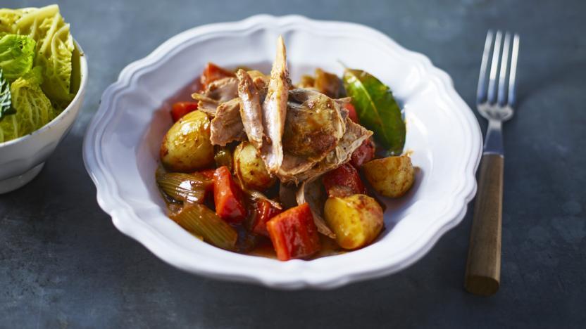Pot-roast turkey drumstick