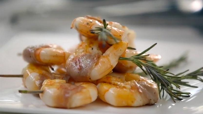 Prawn, prosciutto and rosemary skewers