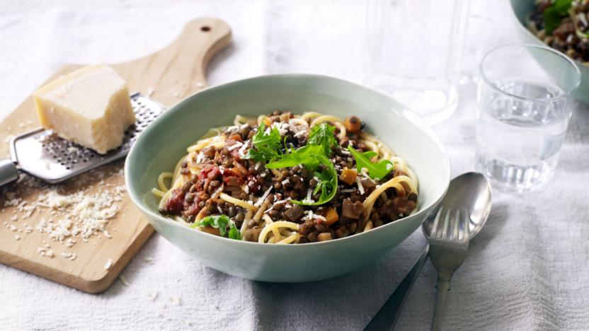 puy lentil bolognese with pasta recipe bbc food